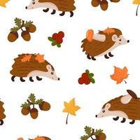 padrão de outono sem costura com folhas, ouriço, cogumelos. vetor