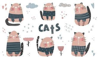 coleção gato fofo mão desenhar personagem de ilustração vetorial vetor