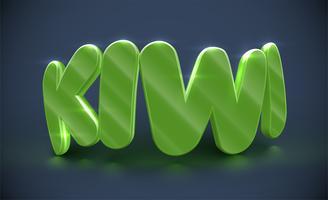 Tipografia 3D - kiwi, vetor