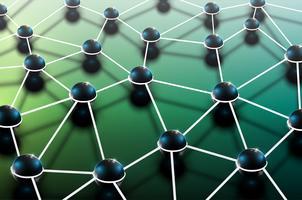 Abstrato colorido poligonal com esferas e linhas conectadas, estrutura de conexão, fundo futurista de hud, ilustração vetorial