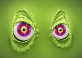 Olhos de um monstro verde assustador, vetor