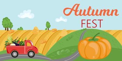 panorama da paisagem da vila com caminhão vermelho e título fest outono vetor