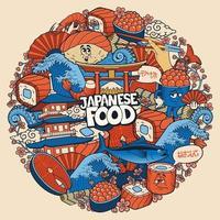 comida japonesa doodle padrão redondo vetor