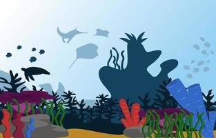 animais selvagens peixes animais mar oceano subaquático aquático ilustração plana vetor