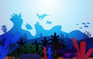 animais selvagens peixes coral mar oceano subaquático aquático ilustração plana vetor
