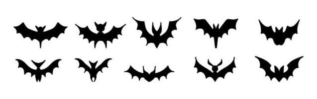 grande conjunto de silhuetas negras de morcegos, vetor isolado