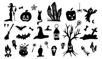 conjunto de silhuetas de estilo cartoon doodle de halloween vetor
