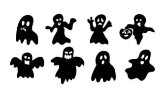 fantasmas assustadores em estilo doodle em um fundo branco. vetor