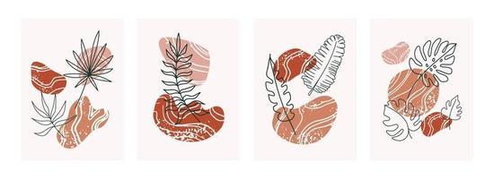 poster botânico abstrato boho. vetor