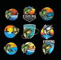 conjunto de verão pesca logotipo mascote emblema ilustração vetorial vetor