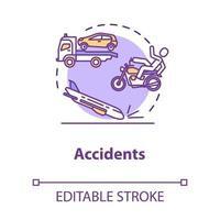ícone do conceito de acidentes de trânsito vetor
