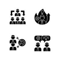 trabalhando juntos ícones de glifo preto definidos no espaço em branco vetor