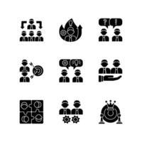 equipe trabalhando com ícones de glifo preto definidos no espaço em branco vetor