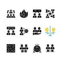 ícones de glifo preto relacionados ao trabalho em equipe definidos no espaço em branco vetor
