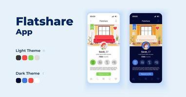conjunto de modelos de vetor de interface de smartphone para aplicativo flatshare