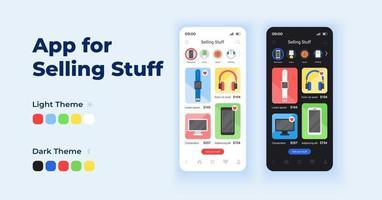aplicativo para vender coisas conjunto de modelos de vetor de interface de smartphone