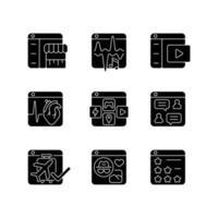ícones de glifo preto de plataformas digitais definidos no espaço em branco vetor