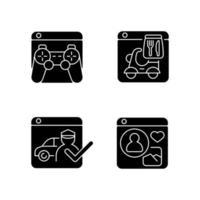 ícones de glifo preto de negócios de plataforma definidos no espaço em branco vetor