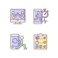 programas de bem-estar fitness online conjunto de ícones de cores rgb. vetor