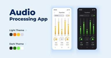 conjunto de modelos de vetor de interface de smartphone de aplicativo de processamento de áudio