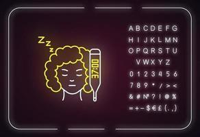 ícone de luz neon de temperatura basal elevada vetor
