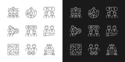 equipe trabalhando ícones lineares definidos para o modo claro e escuro vetor
