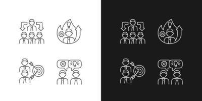 trabalhando juntos ícones lineares definidos para o modo claro e escuro vetor