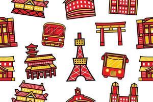 padrão sem emenda da cidade de Tóquio em estilo design plano vetor