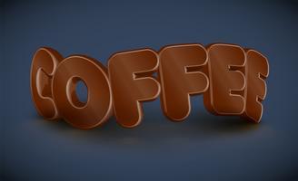 Tipografia 3D - café, vetor