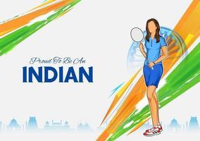atleta indiana de badminton na categoria feminina no campeonato vetor