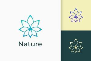logotipo floral ou spa em luxo e elegante para beleza ou saúde vetor