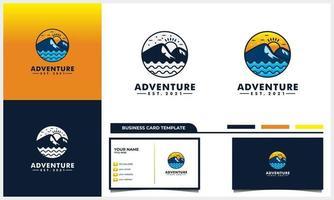 aventura montanha e sol e modelo de cartão de visita vetor
