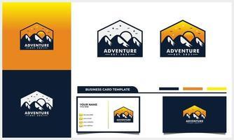 conceito de logotipo de montanha e sol de aventura e modelo de cartão de visita vetor