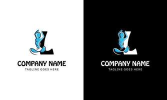 letra l com uma pessoa de ioga. ilustração do vetor do ícone do logotipo
