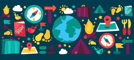 conjunto de ilustrações planas de viagens e camping vetor