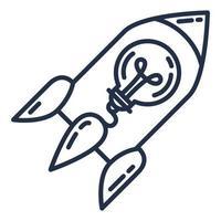 nave espacial com lâmpada, estratégia de negócios e inicialização vetor