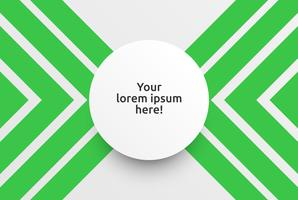 Modelo limpo para publicidade com setas verdes, ilustração vetorial