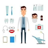 conjunto de criação de personagem de dentista. ícones com diferentes tipos vetor