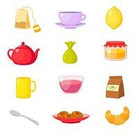 coleção de acessórios para cerimônia do chá, xícaras, bules, vetor