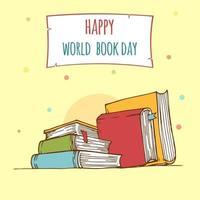dia mundial do livro. pilha de livros coloridos com livro aberto em azul-petróleo vetor