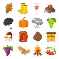 outono. de volta à escola. desenhos animados e estilo simples. conjunto de objetos de ícone vetor