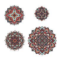 conjunto floral indiano. ornamento de mandala étnica. tatuagem de henna vetorial vetor