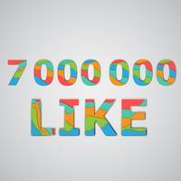 Um número de gostos feitos por personagens coloridos em camadas, ilustração vetorial