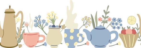 borda sem emenda de chá de ervas com bules, flores silvestres e canecas de chá vetor