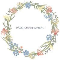 moldura redonda de ervas ou grinalda decorada com flores silvestres ou do campo vetor
