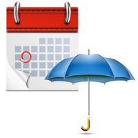 Calendário de folhas soltas com guarda-chuva aberto. vetor