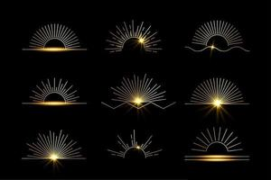 sol conjunto de ícones e símbolos boho lineares, modelos de design de logotipo sol vetor
