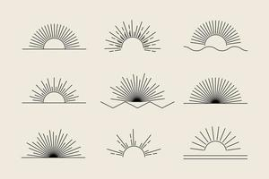 conjunto de sol de vetor de ícones e símbolos boho lineares pretos, logotipo do sol