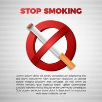 não e pare de fumar com sinal de cigarro realista 3D vetor