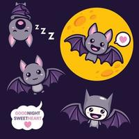 conjunto de desenhos de vetor de morcego fofos